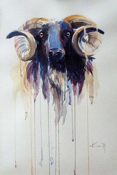 The ram by kate kos watercolour, watercolor landscape, watercolor animals, Watercolor Animals, Watercolor Art, Watercolor Landscape, Painting Of Girl, Painting & Drawing, Animal Paintings, Animal Drawings, Mythological Animals, Deer Art