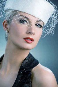 Beautiful Young Woman in White Hat  and Net Veil-Retro Portrait $38.99