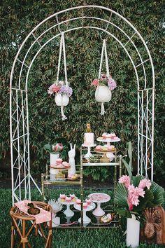 boho inspired wedding cake and dessert table // www.onefabday.com