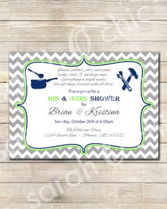 His and Hers Wedding Shower Invitation - sarah O chic - couples shower invitation, bridal shower, chevron, navy blue and green