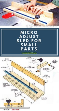 Micro Adjust Sled for Small Parts - Table Saw Tips, Jigs and Fixtures | WoodArchivist.com