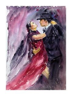 Handmade Original painting Contemporary Argentine Tango Dancers Art Home Decor Wall Art Watercolour painting Dance Teacher Gift for Dancers