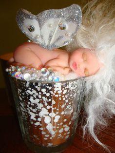 fairy baby white BUBBLES ooak art doll wing elf fantasy fairies pearl crystal