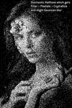 Stochastic Halftone which gets Filter > Pixelate > Crystallize and slight Gaussian blur