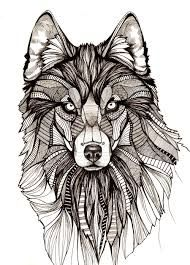 Wolf Aztec Detailed Print