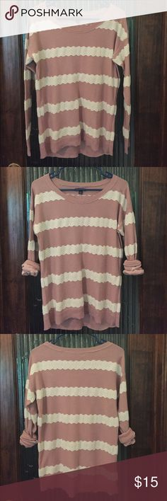 American Eagle Lace Striped Sweater American Eagle Outfitters striped crew neck sweater with lace detail. Worn once. Smoke free home. American Eagle Outfitters Sweaters Crew & Scoop Necks