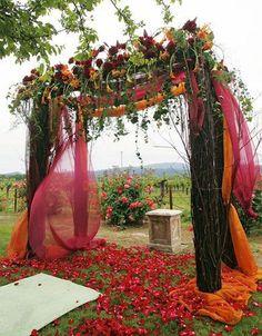 Mariage orange et fuchsia