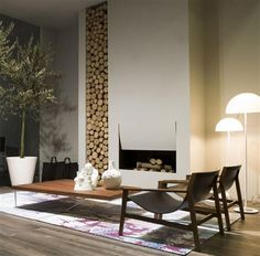Wood logs are not only a fuel for a fireplace or stove. They can make great addition to the interior design. Fireplace Cover, Home Fireplace, Fireplace Design, Ethanol Fireplace, Country Fireplace, Craftsman Fireplace, Simple Fireplace, Fireplace Seating, Fireplace Kitchen