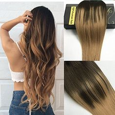 8a balayage remy ombre thick blonde highlighted clip in human hair myfashionhair clip in hair extensions real human hair extensions 18 inches clip on for fine hair full head 7 pieces silky straight weft remy hair inches pmusecretfo Gallery