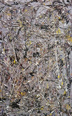 """Jackson Pollock - Phosphorescence (1947) - Oil, enamel and aluminum paint on canvas - 44"""" X 28"""" - Gift of Peggy Guggenheim to the Addison Gallery of American Art in Andover Massachusetts - Copyright P-KF/ARS"""