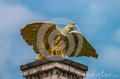 Gold eagle sculpture in Branitz palace. Germany. Europe.