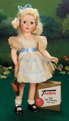 "Effanbee American All Original ""Tintair"" Doll Preserved in Original Box w/curlers and ""play"" hair coloring - 1950's - Theriault's"