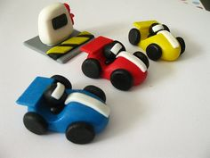 Edible fondant race car cupcake toppers.