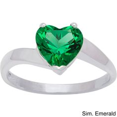 CHROMA Sterling Silver Heart Birthstone Ring (Size 5, simulated emerald), Women's