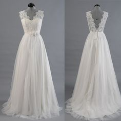 WD05 Hot Sales V Neck Lace Wedding Dresses,Back V Cheap Beach Wedding Dress Custom Made Wedding Gown,