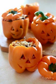 Jack o lantern stuffed peppers