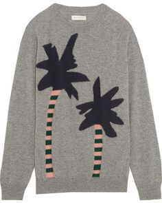 Feeling in the mood for Spring / Summer? Say it with a tropical jumper! This Chinti and Parker cashmere jumper is perfect for everyday, with an abstract Hawaiian print on the front, to make you season appropriate. Knit Fashion, Grey Fashion, Cashmere Jumper, Grey Sweater, Pullover Sweaters, Crewneck Sweater, Knitwear, Graphic Tees, Mini Skirts