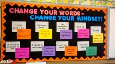 """The bulletin board behind the desk is called """"Change Your Words - Change Your Mindset!"""" This year, I'm working to help my kids develop a growth mindset. Many of them have had a fixed mindset instilled in them through their families. They have been raised to believe that they are either a """"math person"""" or """"not a math person."""" This summer, I read Carol Dweck's Mindset: The New Psychology of Success. by lorene"""