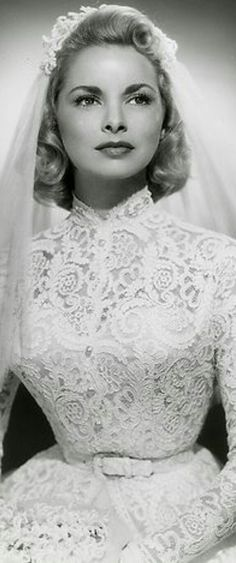 """Janet Leigh(Jamie Leigh Curtis  Mom) actress of """"Pyscho"""" in a high neck  long sleeve lace wedding dress - 7e67b17b5e0a"""