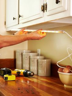 Our Best Kitchen Lighting Tips | Recipe Cards, Bright Lights And Cupboard