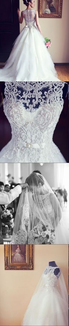 2014 New Arrival Amazing Sleeveless Crystal Ball Gowns Lace Appliques Wedding Dresses[ AlbertoFermaniUSA.com ] #fashion