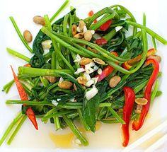Stir-Fried Spinach with Garlic & Peanuts Thai Style!