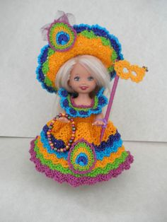 "Crochet Doll Clothes Mardi Gras Peacock Outfit for 4 ½"" Kelly Amp Same Sized Dolls 