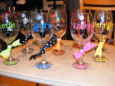 Bachelorette Girls Weekend to the HIll Country Hostess Gifts… Bachlorette Party, Bachelorette Gifts, Decorated Wine Glasses, Painted Wine Glasses, Spa Party, Party Gifts, Party Favors, Wine Favors, Hen Night Ideas