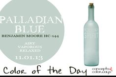 Palladian Blue! More specifically, Benjamin Moore HC-144. -- Love sea glass and that bottle really makes me want this paint for the living room.