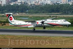 Biman Bangladesh Airlines Bombardier DHC-8-402Q (registered S2-AGR) moments before touching down at Dhaka-Hazrat Shahjalal International (DAC/VGHS)