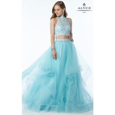 Alyce 6765 Prom Dress 2017 Long Halter Sleeveless ($378) ❤ liked on Polyvore featuring dresses, gowns, blue radiance, formal dresses, prom gowns, long formal dresses, prom dresses and long lace gown