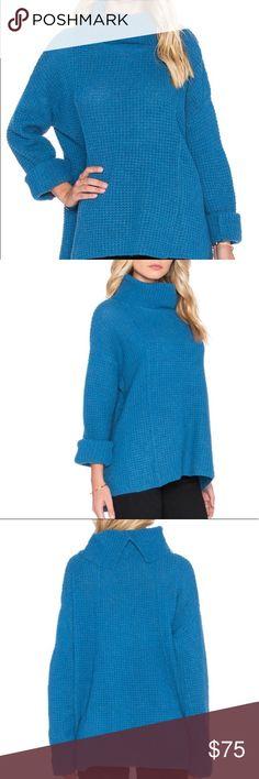 free people sidewinder turtleneck sweater free pretty. bright blue. sidewinder style. turtleneck sweater. like new. Free People Sweaters Cowl & Turtlenecks