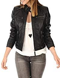 online shopping for Leather Planet Women's Lambskin Leather Bomber Biker Jacket - Winter Wear - Extremely Soft & Smooth from top store. See new offer for Leather Planet Women's Lambskin Leather Bomber Biker Jacket - Winter Wear - Extremely Soft & Smooth Lambskin Leather Jacket, Biker Leather, Leather Jackets, Black Leather, Vegan Leather, Coats For Women, Jackets For Women, Ladies Coats, Looks Black