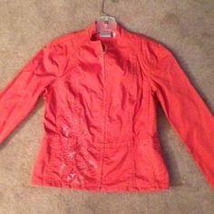 Orange Jacket With Detailed Design.