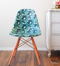 Break out your favorite hard-coat decoupage medium to create this cute furniture piece. Clean a chair and place decorative paper over the seat. Use a damp sponge or towel to smooth the paper over the form of the chair. Apply three to five coats of decoupage medium to the chair./