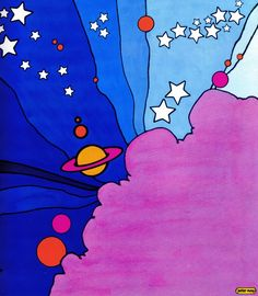 "Peter Max illustration from ""The Peter Max Land of Blue"" Book, Kunst Inspo, Art Inspo, Psychedelic Art, Art And Illustration, Peter Max Art, Illustrator, 60s Art, Retro Art, Trippy Painting"