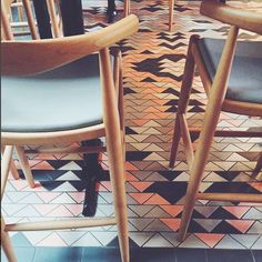 """101 Likes, 2 Comments - Fireclay Tile (@fireclaytile) on Instagram: """"RG @emily_katz  This floor tile! @nomad.pdx features a tile rug created with our 4"""" triangles.…"""""""