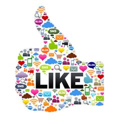 big thumb like with social like icons