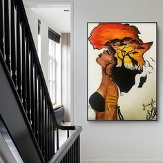 Classical African Woman Paintings on The Wall Abstract Africa Map Shape Head Wall Art Canvas Prints and Posters Home Decor Africa Painting, Map Painting, Africa Art, African Abstract Art, African Art Paintings, African Wall Art, Mural Wall Art, Canvas Wall Art, Canvas Prints