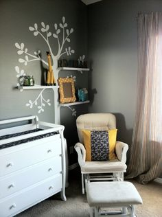 baby boy nursery- i love the tree shelf