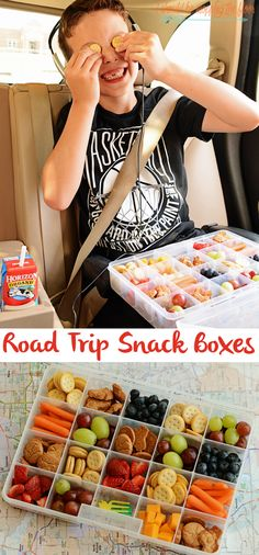 Road Trip Snack Boxes An easy and yummy solution to keep kids fueled on road trips road trip snacks for kids tackle box hack Stocking a kid pantry is easy to do with bag. Snacks Road Trip, Lunch Snacks, Healthy Snacks, Healthy Recipes, Camp Snacks, Kid Snacks, Kid Lunches, Fruit Snacks, School Lunches