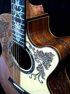 """Don't know how to play a guitar but would love to get one for decoration. Custom Made Blueberry """"Split-top"""" Floral Motif Acoustic Guitar Ukulele, Music Guitar, Cool Guitar, Playing Guitar, Learning Guitar, Dj Music, Guitar Inlay, Rick E, Beautiful Guitars"""