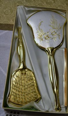 Vintage Vanity Set Mirror Brush Comb in Box Gold by PanchosPorch