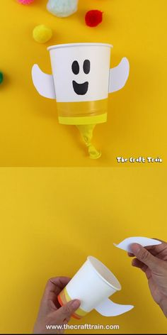 Pom pom popper ghost – a cute and easy ghost craft to make from a paper cup. Pull back the stretchy balloon base to fling the pom poms across the room! Pom pom popper ghost – a cute and easy ghost craft to make from a paper cup. Pull back the … Kids Crafts, Ghost Crafts, Easy Halloween Crafts, Toddler Crafts, Preschool Crafts, Halloween Fun, Craft Projects, Craft Kids, Room Crafts