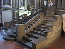 The beautiful entrance of the library. Designed by Michelangelo. Biblioteca Medicea Laurenziana at the Basilica San Lorenzo, Florence Historical Architecture, Architecture Details, Interior Architecture, Giorgio Vasari, Visit Florence, Florence Italy, Stair Ladder, All About Italy, Religious Architecture