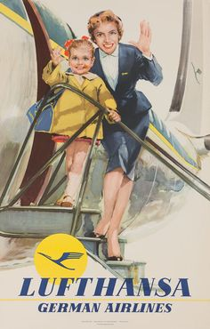 Vintage travel poster for Lufthansa German Airlines. Old Poster, Poster Ads, Advertising Poster, Vintage Advertisements, Vintage Ads, Vintage Images, Vintage Airline, European Airlines, Vintage Travel Posters