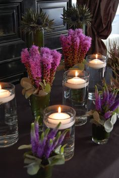Scottish heather table arrangements More