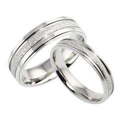 Con estos sí me caso!!  La moda de Nueva Perla Parejas de arena anillo de acero Titanium – USD $ 12.99