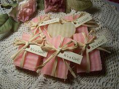 It's a Girl  - Baby shower favors - mini soaps - 30 soaps - shea butter, handmade. $48.00, via Etsy.