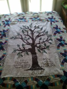Free Filet Crochet Charts and Patterns: Filet Crochet Tree C ~ and added embroidery.. beautiful